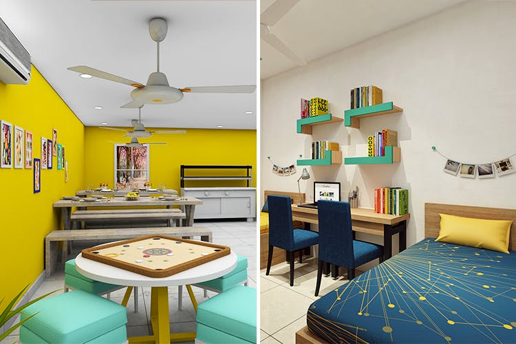 Room,Furniture,Interior design,Property,Yellow,Turquoise,Building,House,Table,Real estate