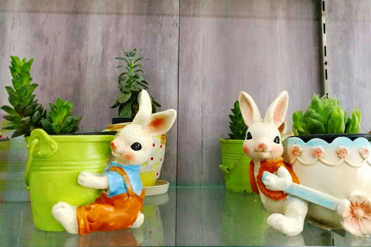 Toy,Organism,Flowerpot,Figurine,Grass,Easter bunny,Animation,Rabbits and Hares,Rabbit,Vegetable