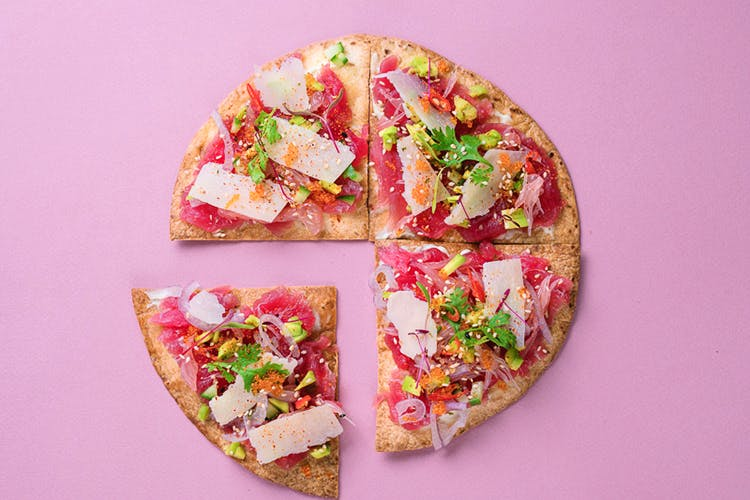 Pink,Food,Cuisine,Dish,Pizza,Flatbread,Finger food,Recipe,Fashion accessory,Baked goods