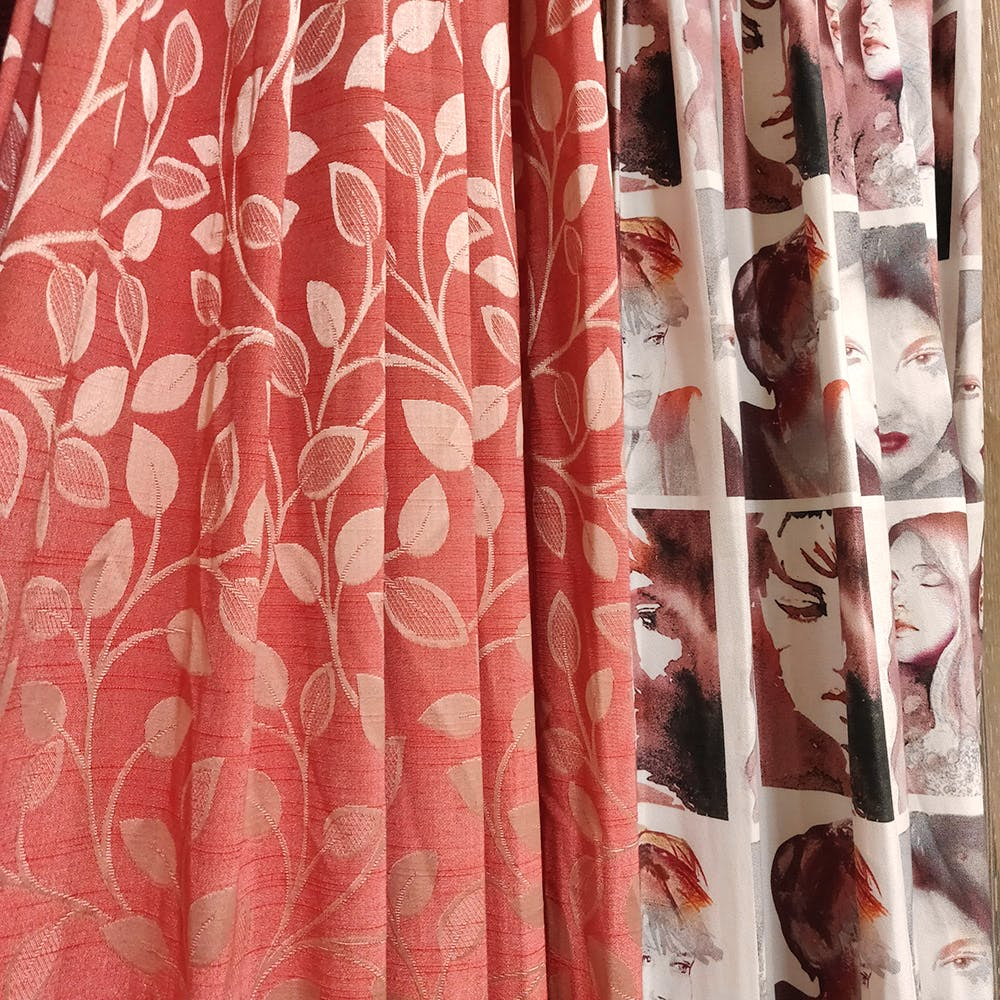 Curtain,Clothing,Shower curtain,Pink,Textile,Interior design,Window treatment,Peach,Pattern,Pattern