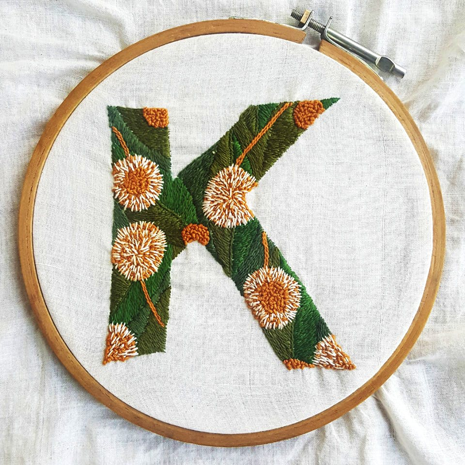 Needlework,Green,Embroidery,Textile,Stitch,Leaf,Circle,Pattern,Craft