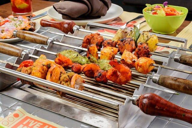 Dish,Food,Cuisine,Barbecue,Yakitori,Meat,Ingredient,Fried food,Chicken tikka,Kebab
