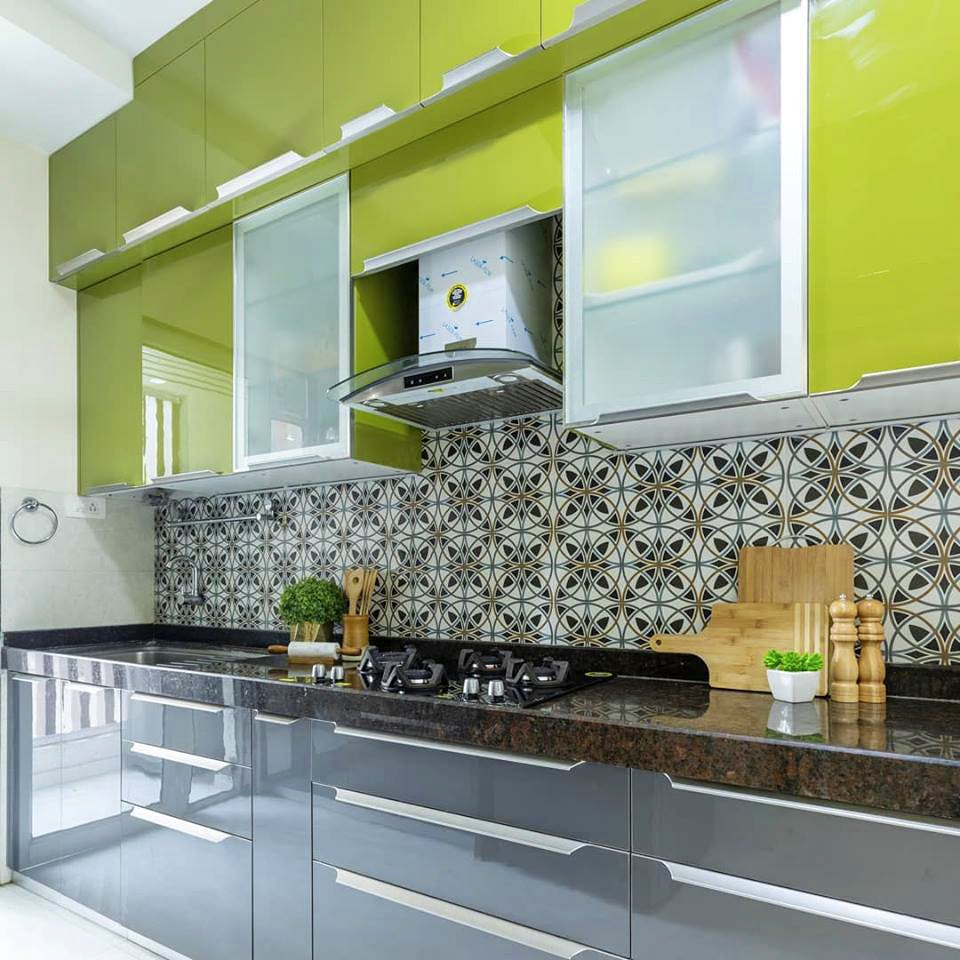 Countertop,Kitchen,Room,Green,Cabinetry,Furniture,Property,Interior design,Tile,Yellow
