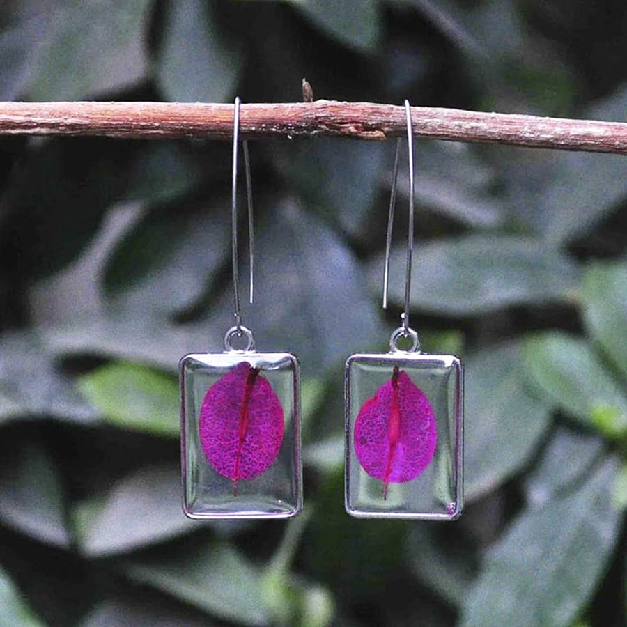 Earrings,Pink,Jewellery,Magenta,Fashion accessory,Silver,Crystal,Leaf,Ruby,Gemstone