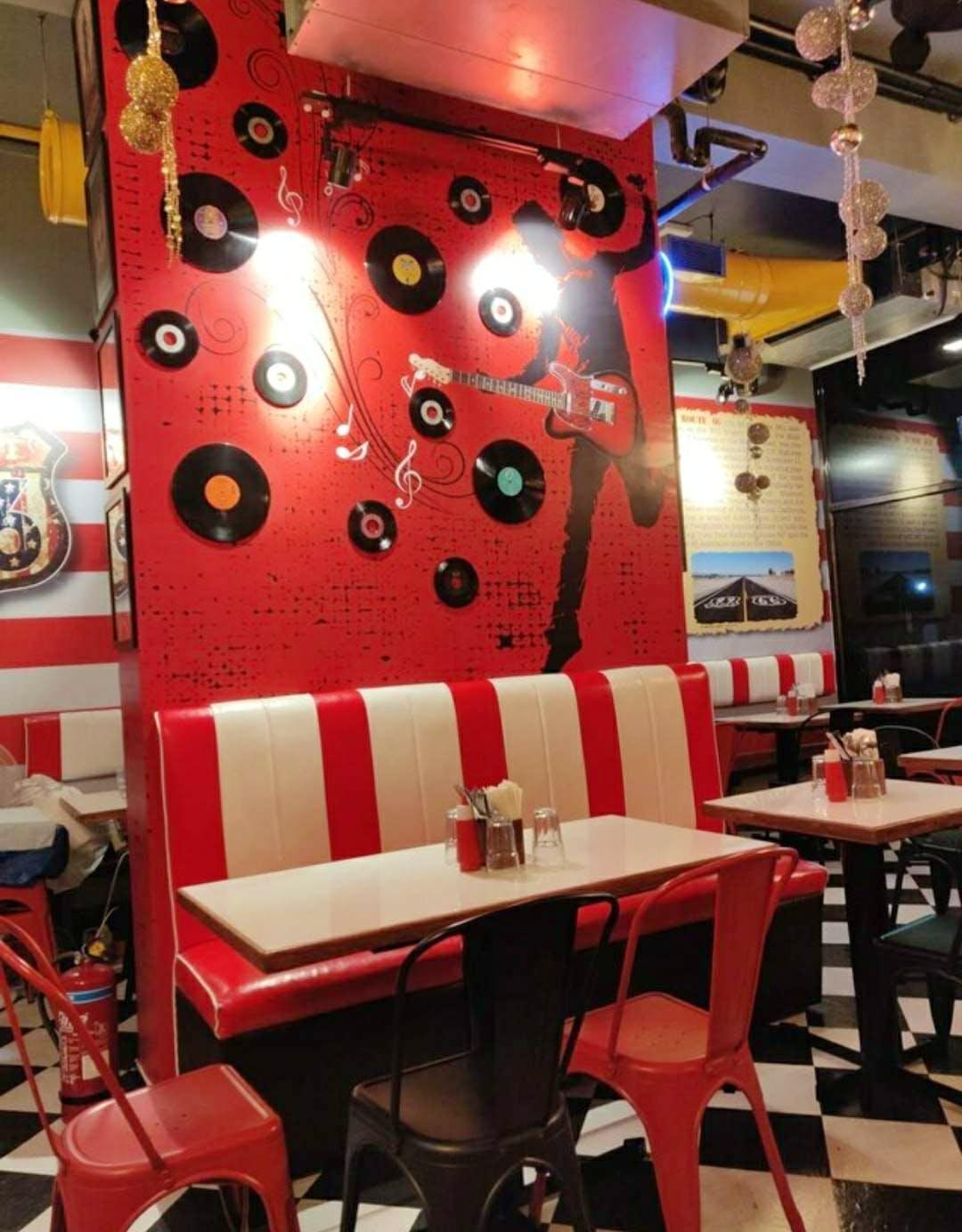 Red,Restaurant,Room,Interior design,Table,Furniture,Building,Architecture,Ceiling