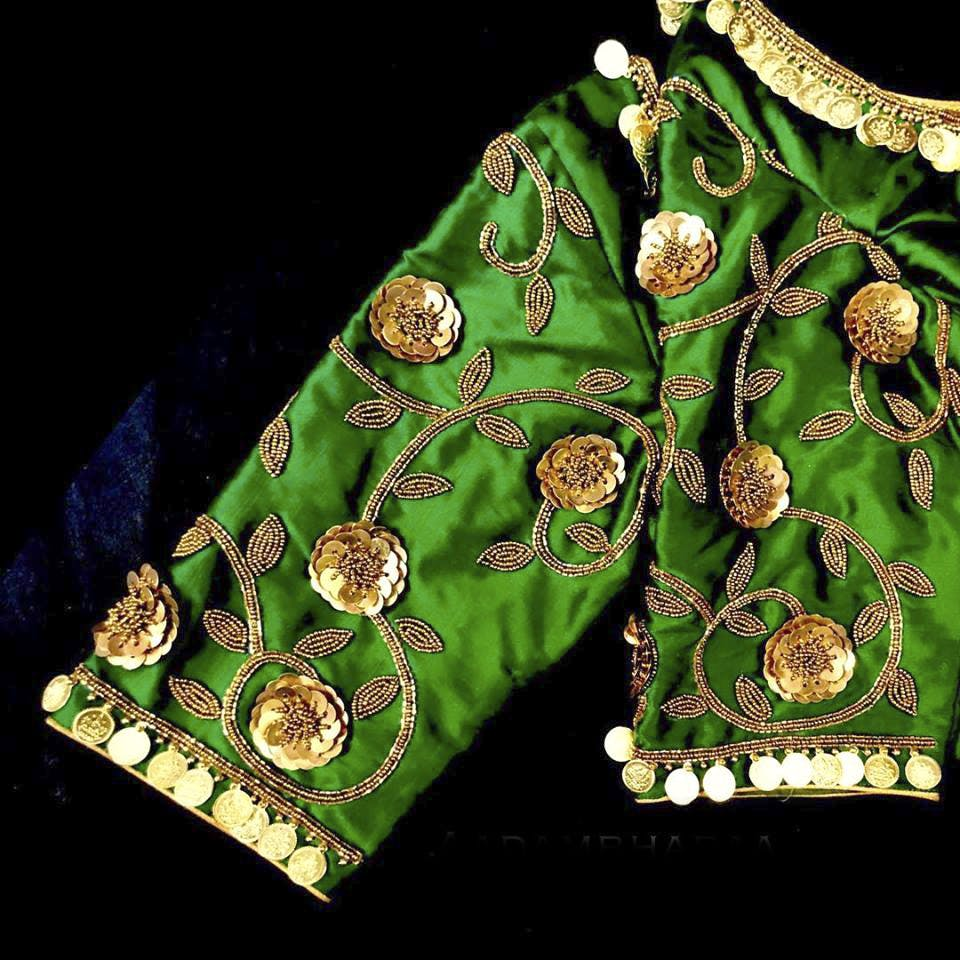 Green,Pattern,Embroidery,Design,Outerwear,Fashion accessory