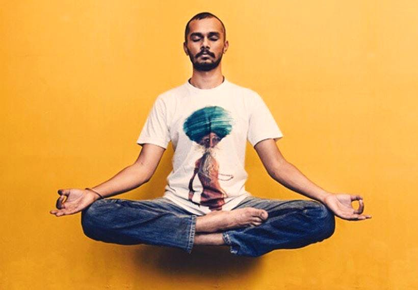 Sitting,Yellow,Cool,Joint,Meditation,Knee,Neck,T-shirt,Facial hair