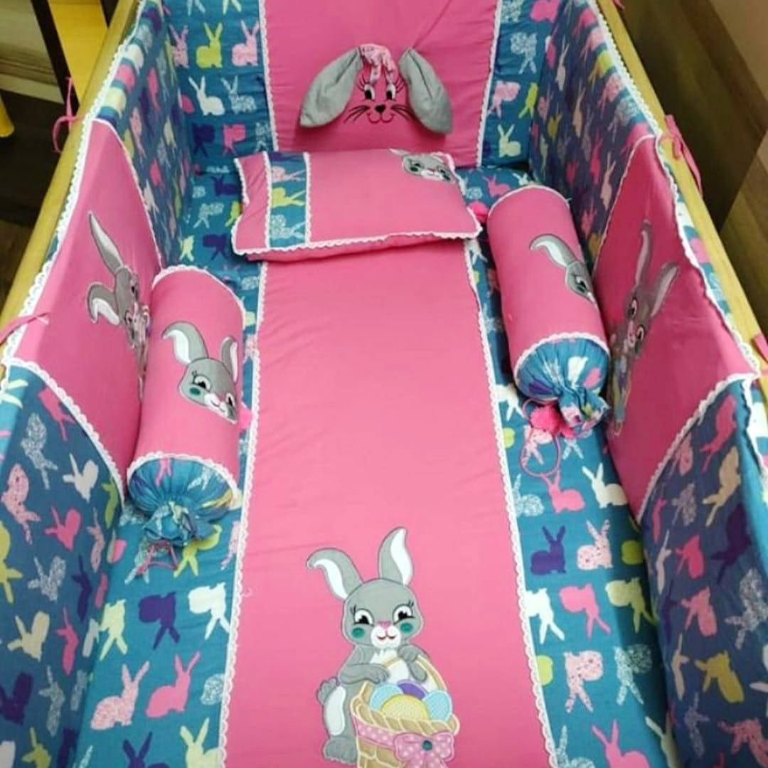 Green,Pink,Textile,Pattern,Linens,Rabbits and Hares,Pattern,Rabbit