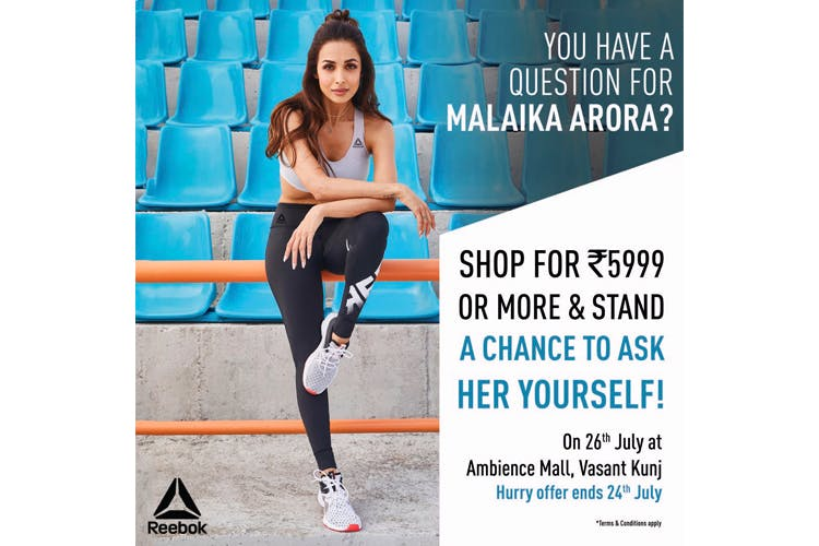 Shop From The New Reebok Store At Ambience Mall, Vasant Kunj And Stand A Chance To Meet Malaika Arora!