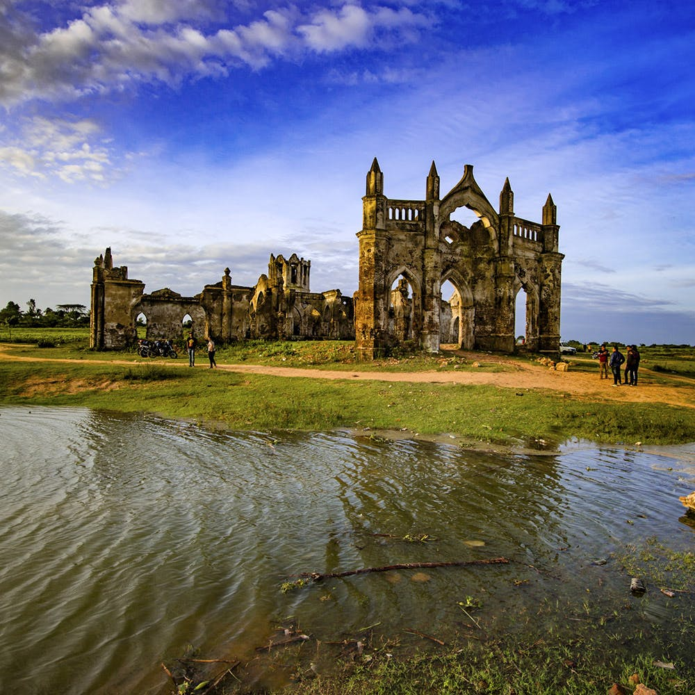 Sky,Water,Reflection,Building,Cloud,Architecture,Grass,River,Church,Ruins