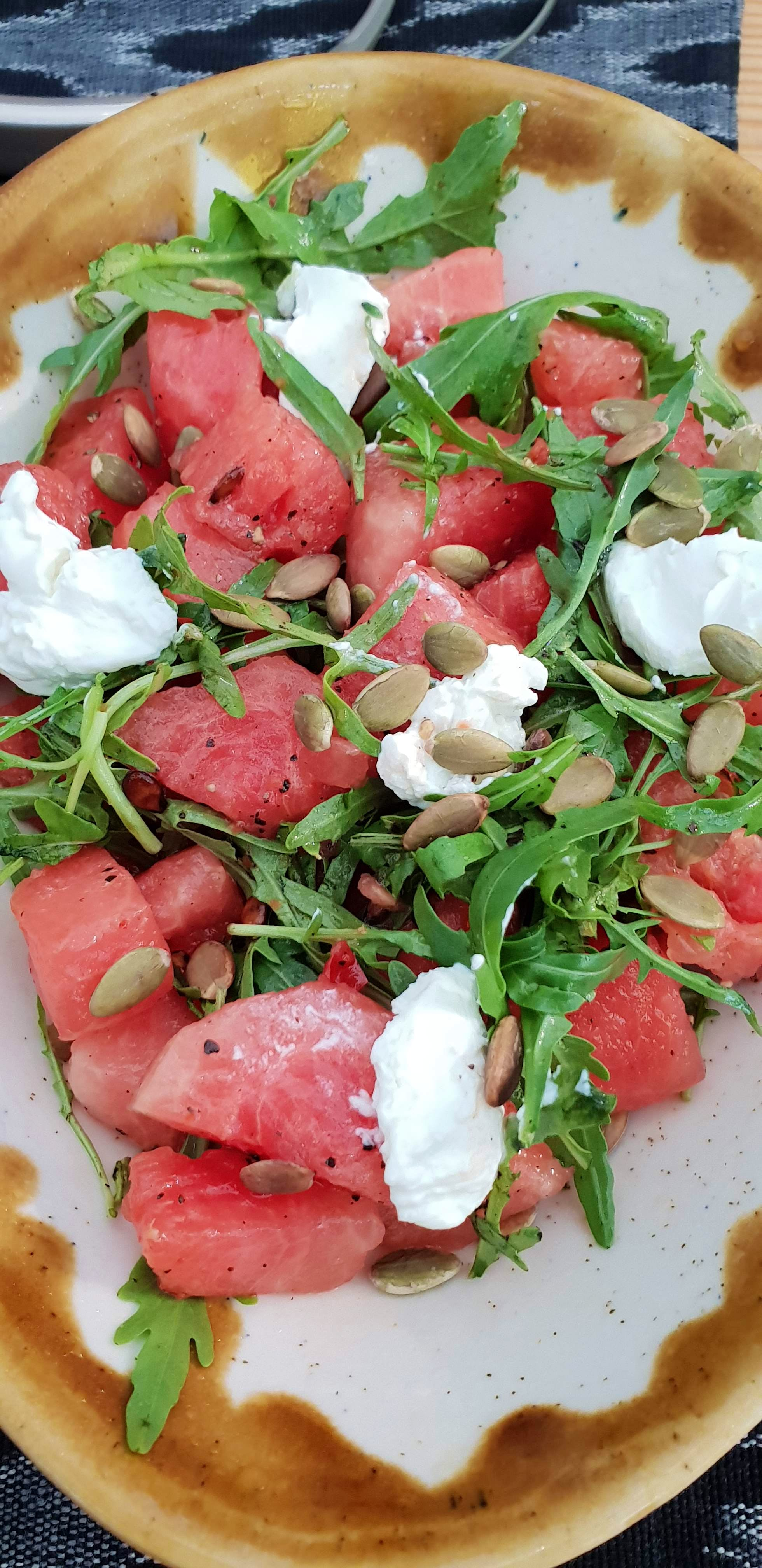 Dish,Food,Cuisine,Ingredient,Mozzarella,Goat cheese,Prosciutto,Produce,Watermelon,Feta