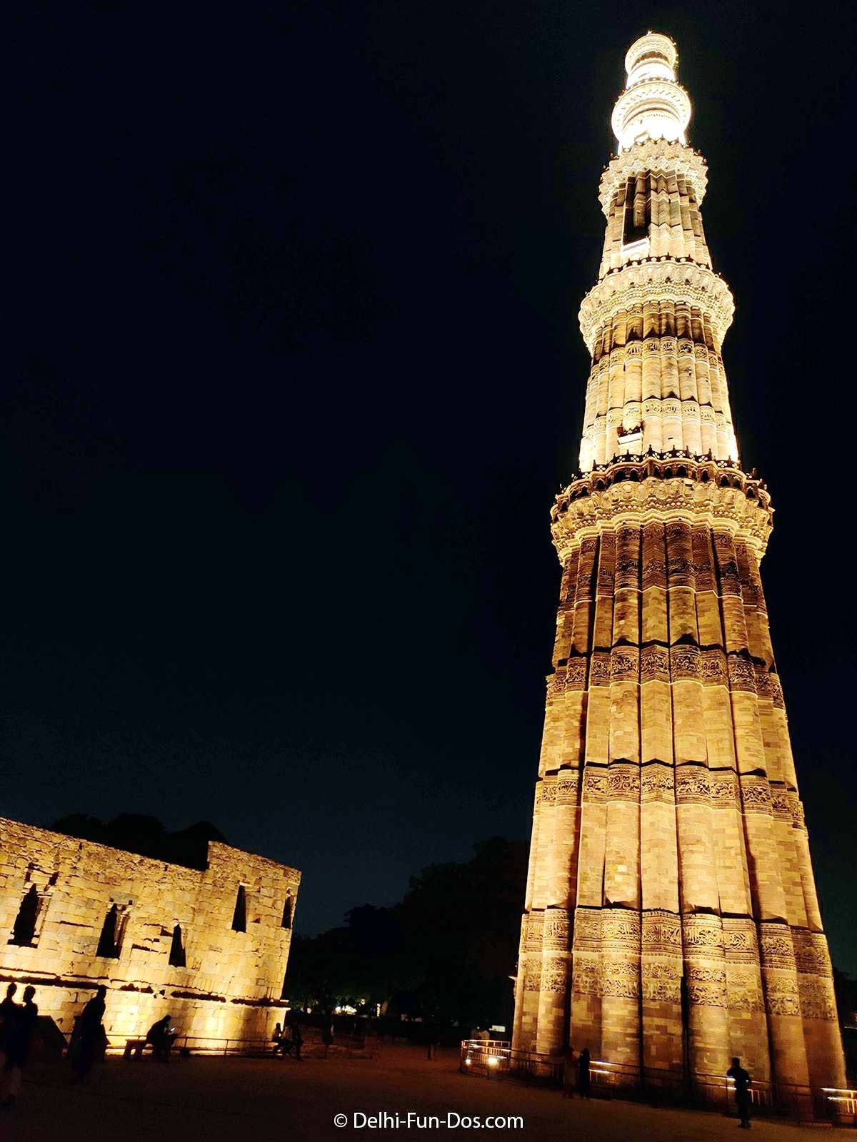 Qutub Minar Now Opens In The Night Dazzling With Led Lights