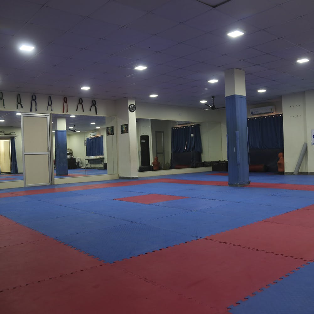 Blue,Mat,Martial arts,Sport venue,Room,Individual sports,Contact sport,Floor,Karate,Taekwondo