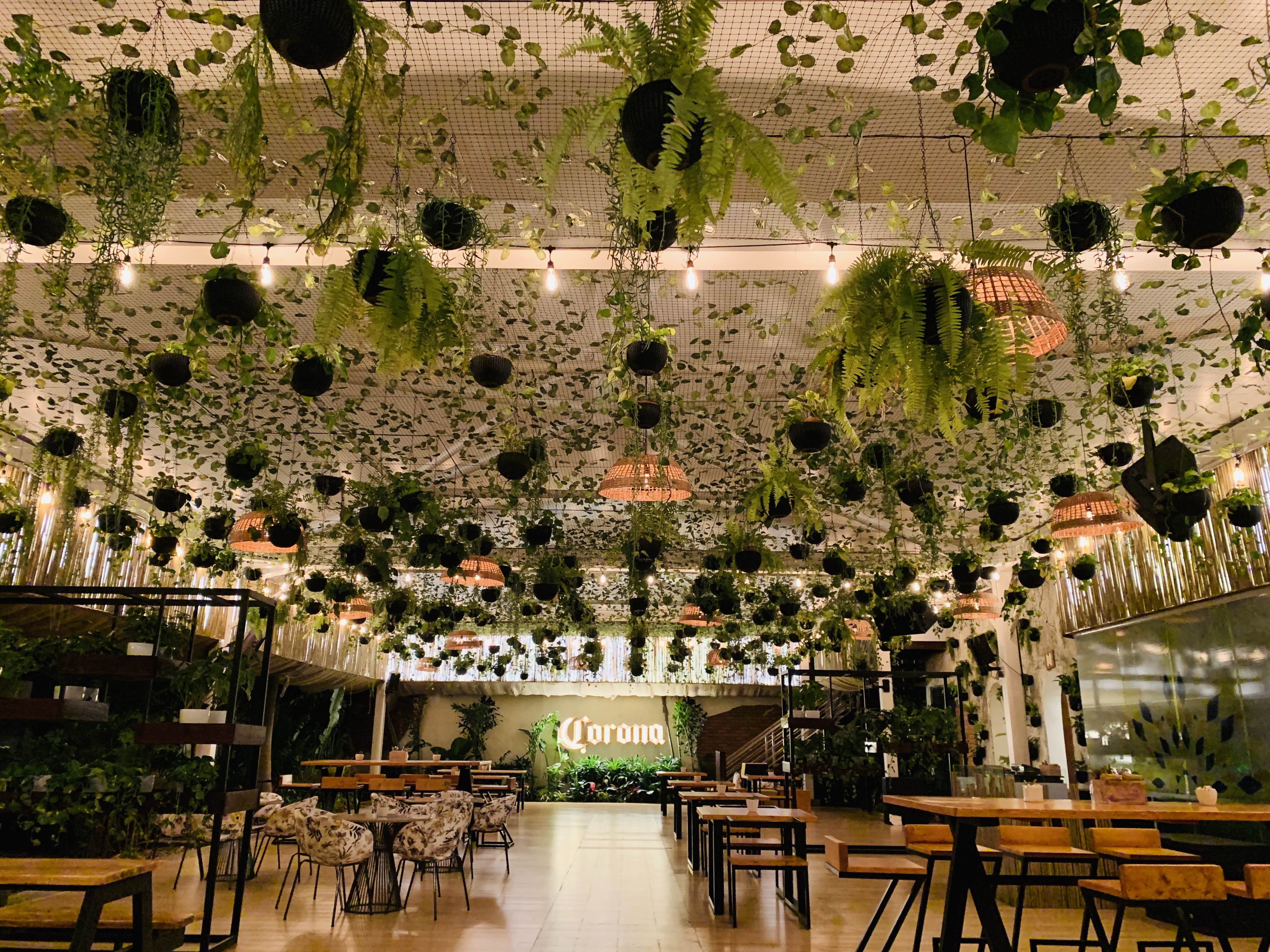 Building,Ceiling,Tree,Architecture,Function hall,Wedding reception,Interior design,Plant,Restaurant,Table