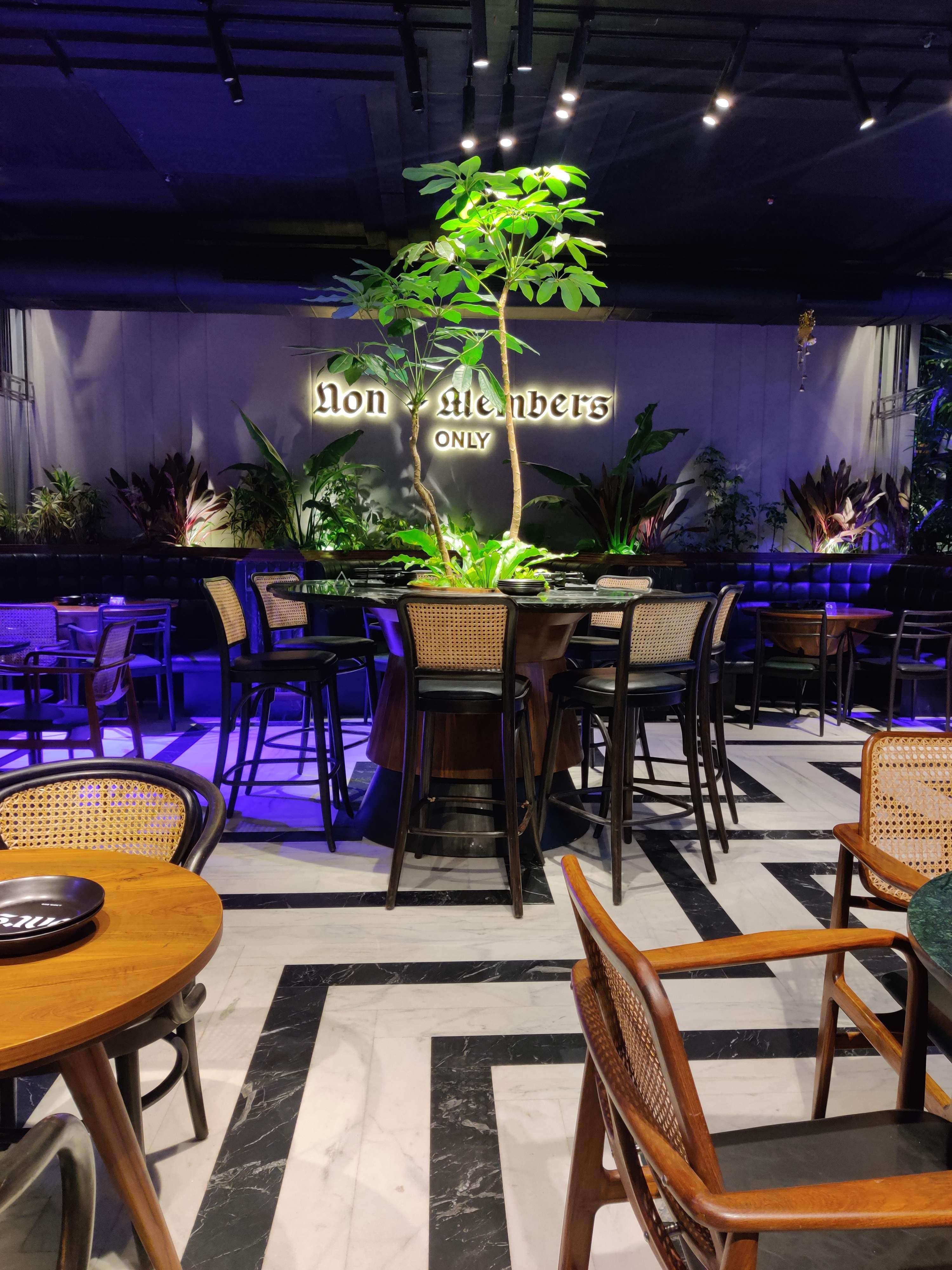 Lighting,Furniture,Table,Houseplant,Tree,Interior design,Patio,Outdoor table,Room,Plant