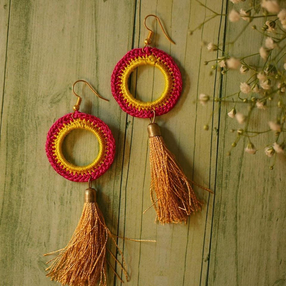 Earrings,Jewellery,Fashion accessory,Textile,Metal,Ornament,Magenta,Jewelry making,Bead,Wire