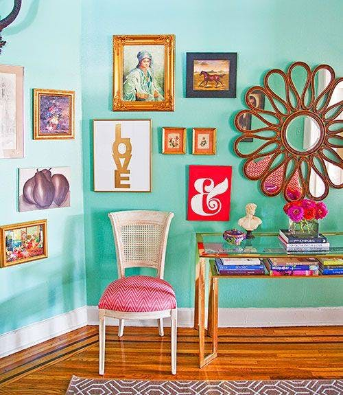 Room,Turquoise,Green,Pink,Furniture,Interior design,Orange,Wall,Teal,Yellow