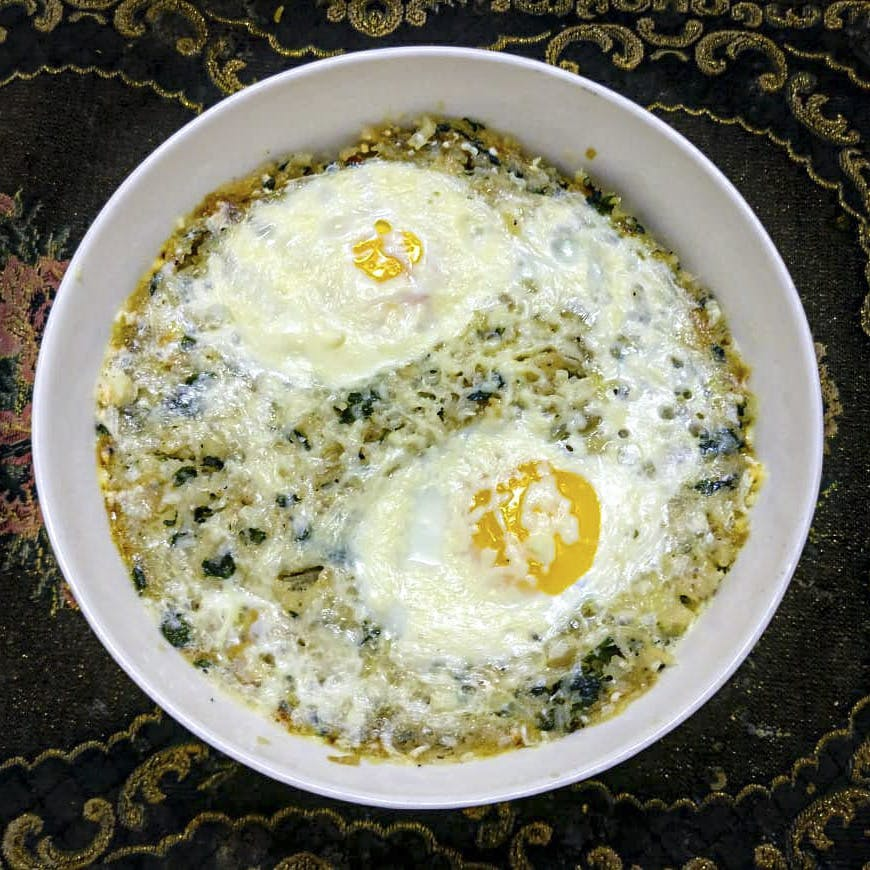 Dish,Food,Ingredient,Cuisine,Fried egg,Produce,Recipe,Side dish,Spinach,Baba ghanoush