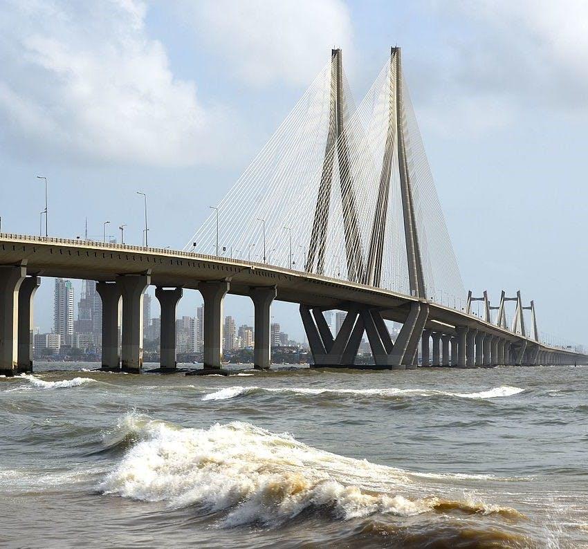 Bridge,Cable-stayed bridge,Skyway,Water,Fixed link,Sea,Nonbuilding structure,River,Sky,Suspension bridge