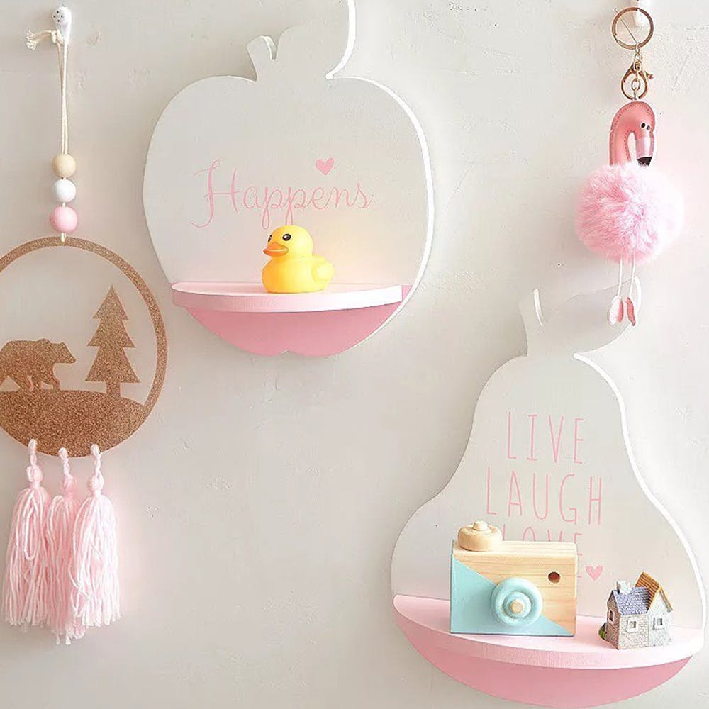 Pink,Product,Shelf,Baby toys,Ornament,Room,Fashion accessory,Baby shower,Illustration
