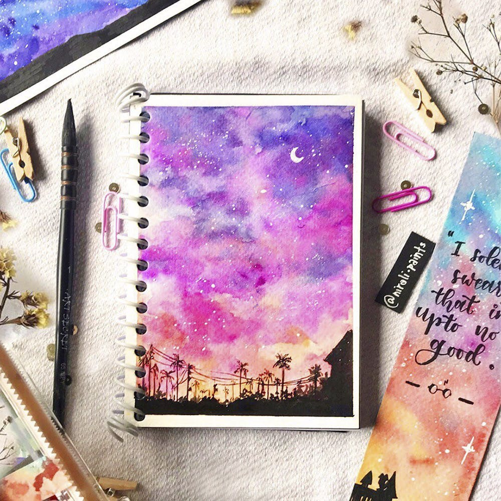 Purple,Pink,Violet,Magenta,Watercolor paint,Tree,Plant,Graphic design,Space,Flower