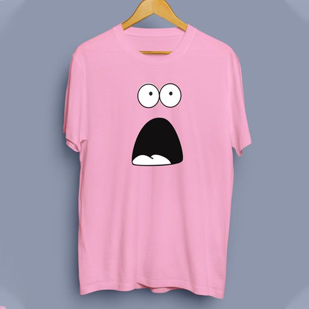 Pink,Clothing,White,T-shirt,Sleeve,Hairstyle,Cartoon,Top,Moustache,Design