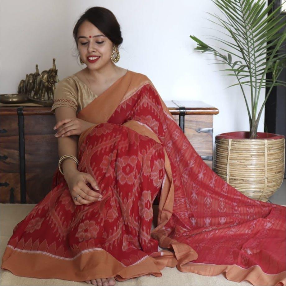 Clothing,Sari,Red,Maroon,Peach,Pink,Dress,Orange,Formal wear,Silk