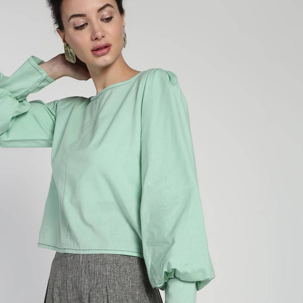 Clothing,Sleeve,Green,Shoulder,Neck,Blouse,Shirt,Collar,Top,Joint