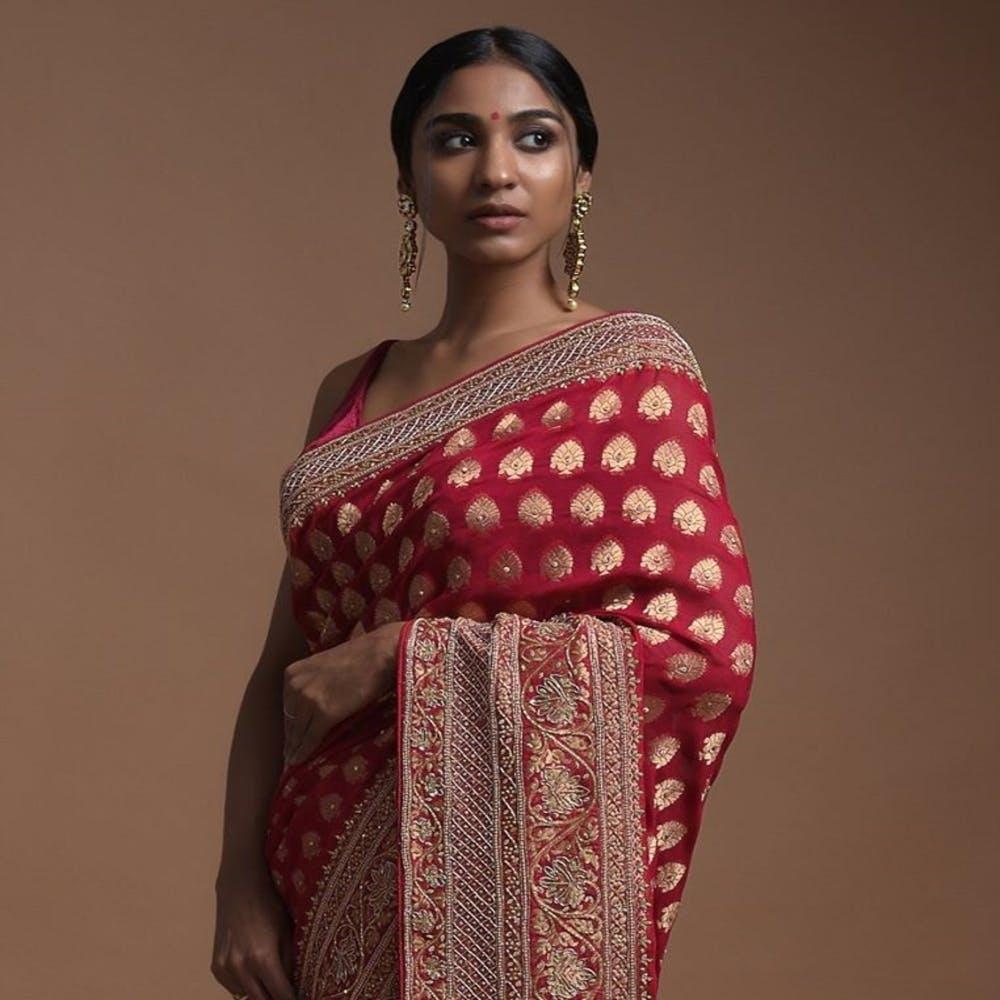 Clothing,Sari,Maroon,Pink,Magenta,Textile,Formal wear,Silk,Peach,Photography