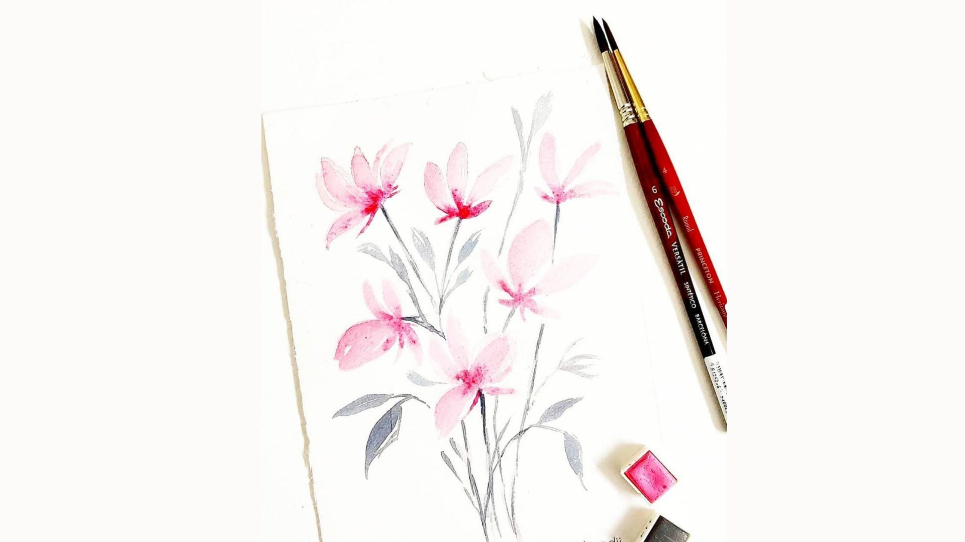Pink,Botany,Plant,Flower,Stationery,Wildflower,Pen,Writing implement,Illustration,Watercolor paint