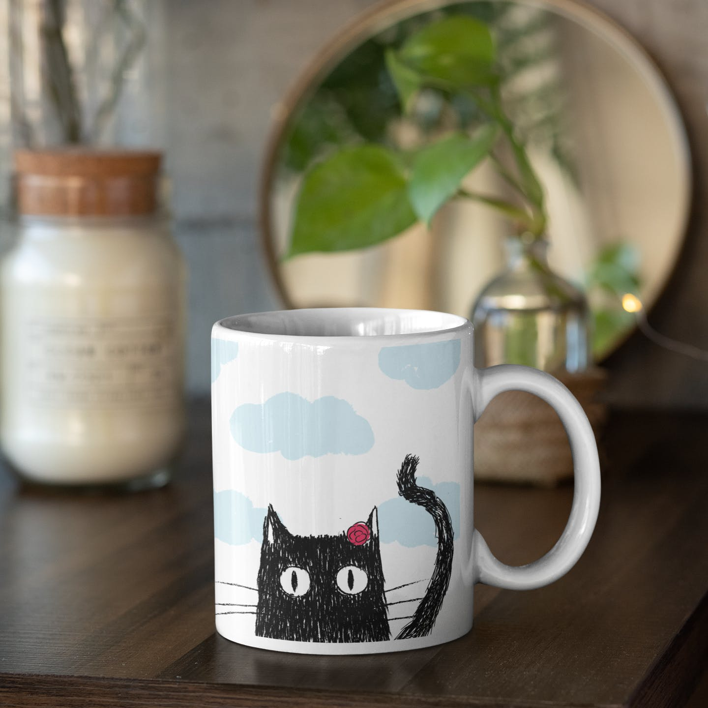 Cat,Coffee cup,Mug,Black cat,Cup,Cup,Drinkware,Small to medium-sized cats,Tableware,Owl