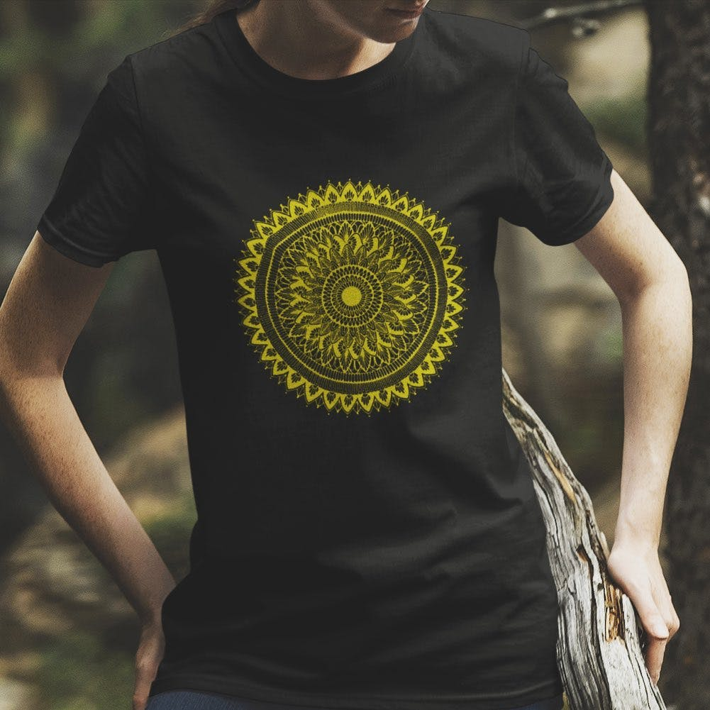 T-shirt,Clothing,Yellow,Sleeve,Top,Pattern,Neck,Design,Active shirt,Circle