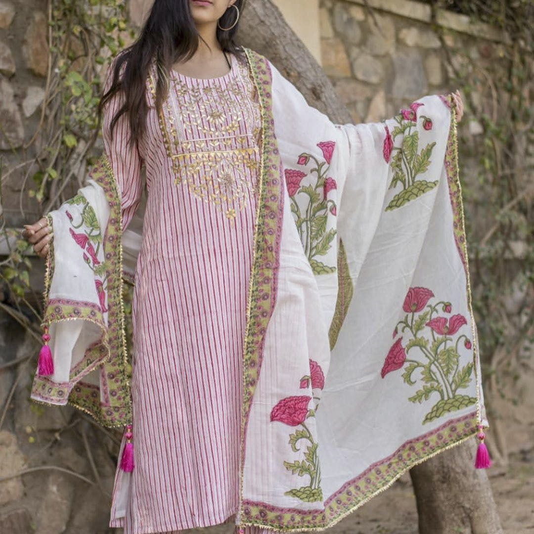 Clothing,Pink,Green,Magenta,Textile,Embroidery,Pattern,Linen,Spring,Dress