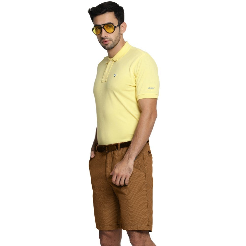 Men Straight Hem Detail Solid Basic Polo Neck T-Shirt