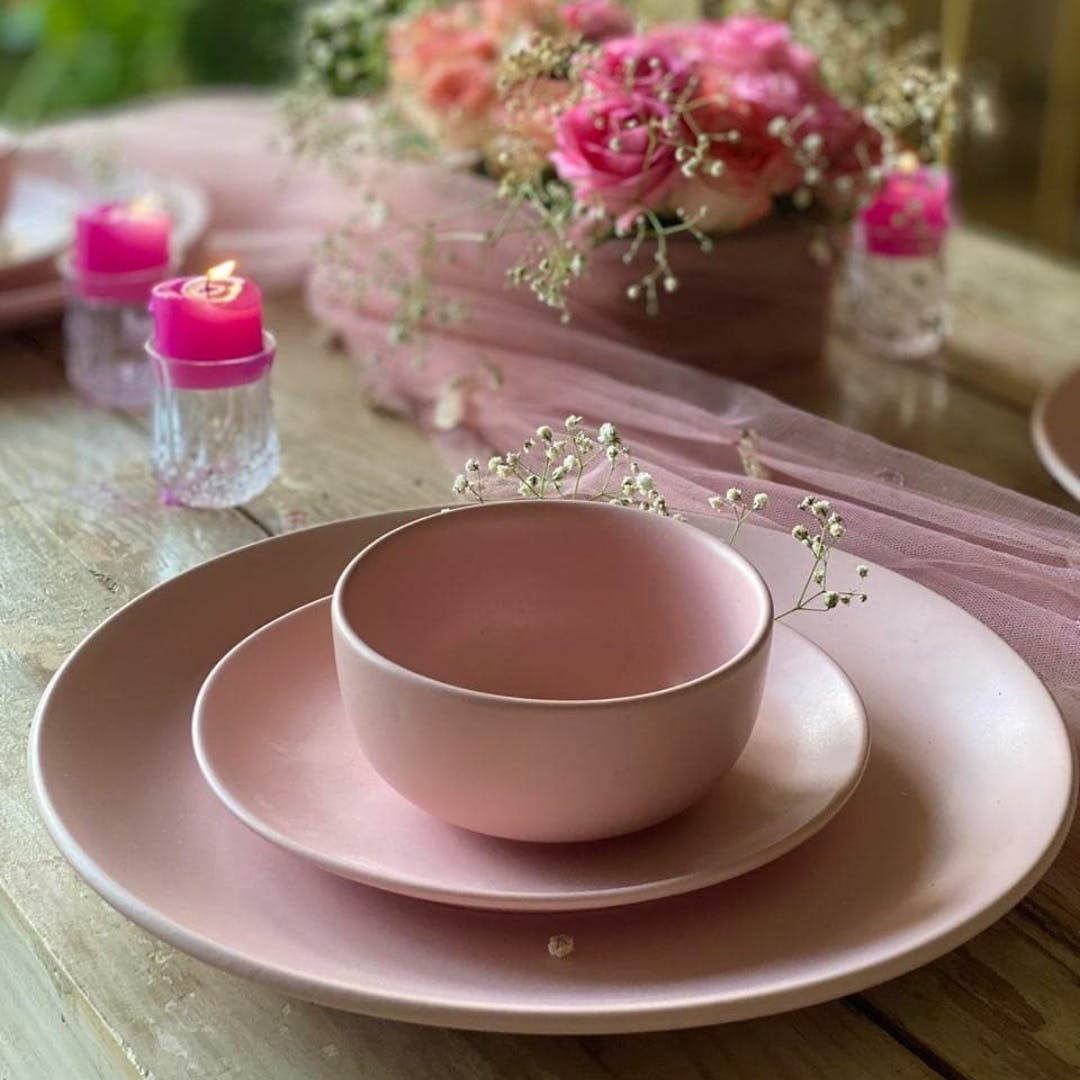 Pink,Cup,Porcelain,Teacup,Coffee cup,Cup,Saucer,Tableware,Serveware,Tablecloth