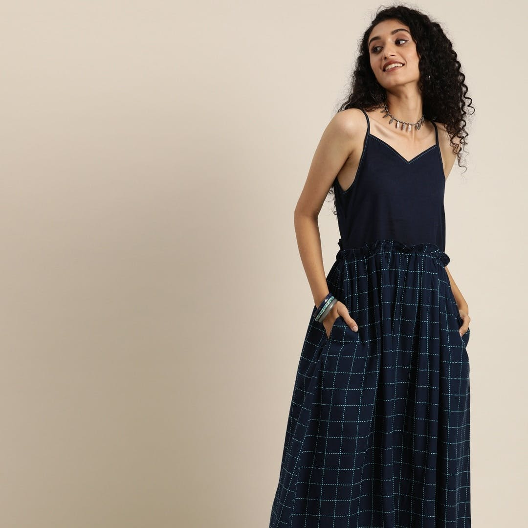 Women Blue Checked Woven Legacy Fit & Flare Sustainable Dress with Pockets