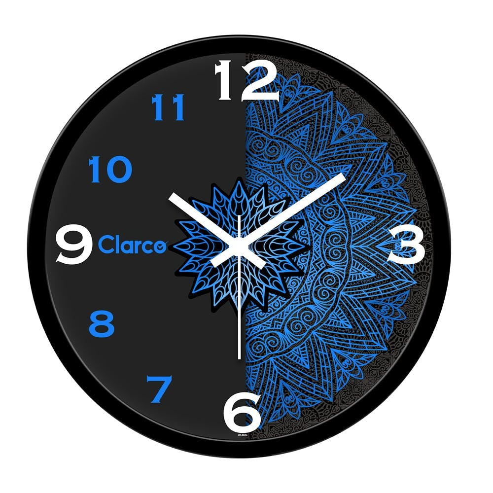 Clock,Wall clock,Blue,Electric blue,Furniture,Analog watch,Home accessories,Design,Font,Quartz clock