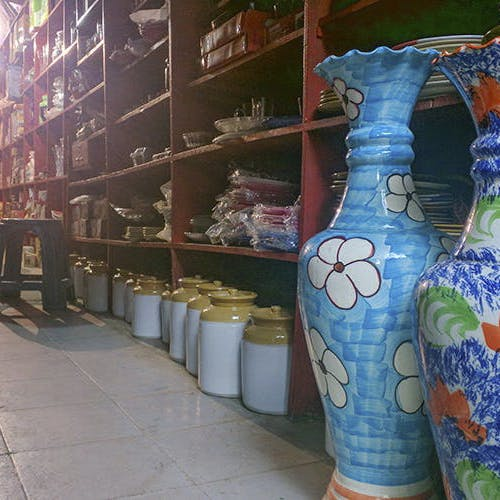 Blue,Ceramic,Pottery,Tile,Mosaic,Vase,Porcelain,Art,Room,Architecture