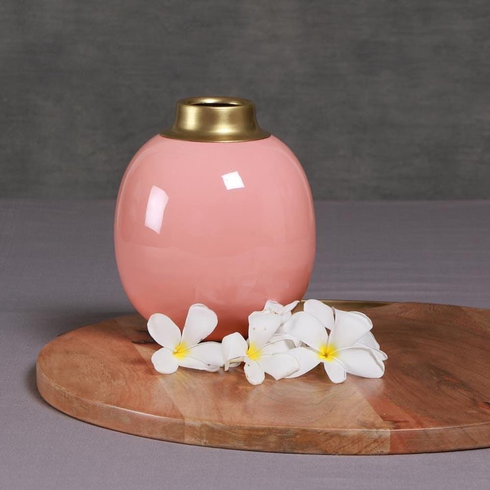 Pink Round Metal Vase (6 inches)