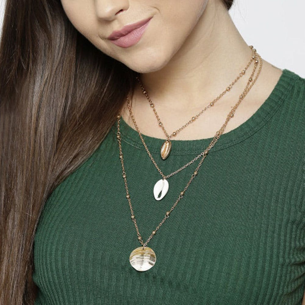 Gold Plated Layered Shell Detail Necklace