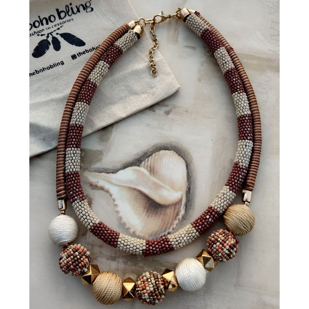 Two-Tone Beaded Layered Necklace