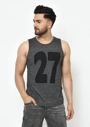 Men Graphic Patch Front Charcoal Sleeveless T-Shirt