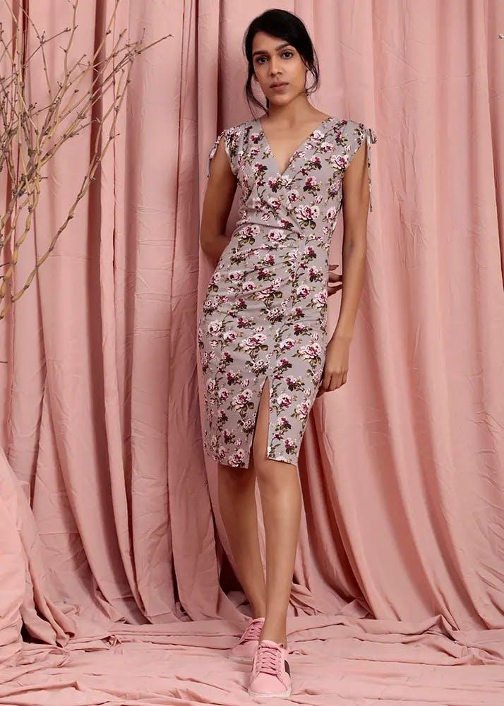 Women Wrap Neck Detail Grey Floral Printed Slit Bodycon Dress