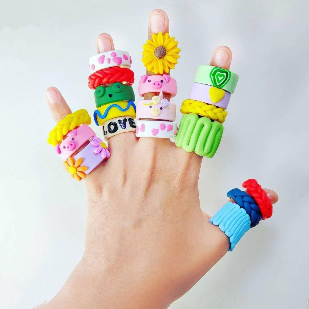 Buy Chunky Clay Rings, Trendy Jewellery Online | LBB