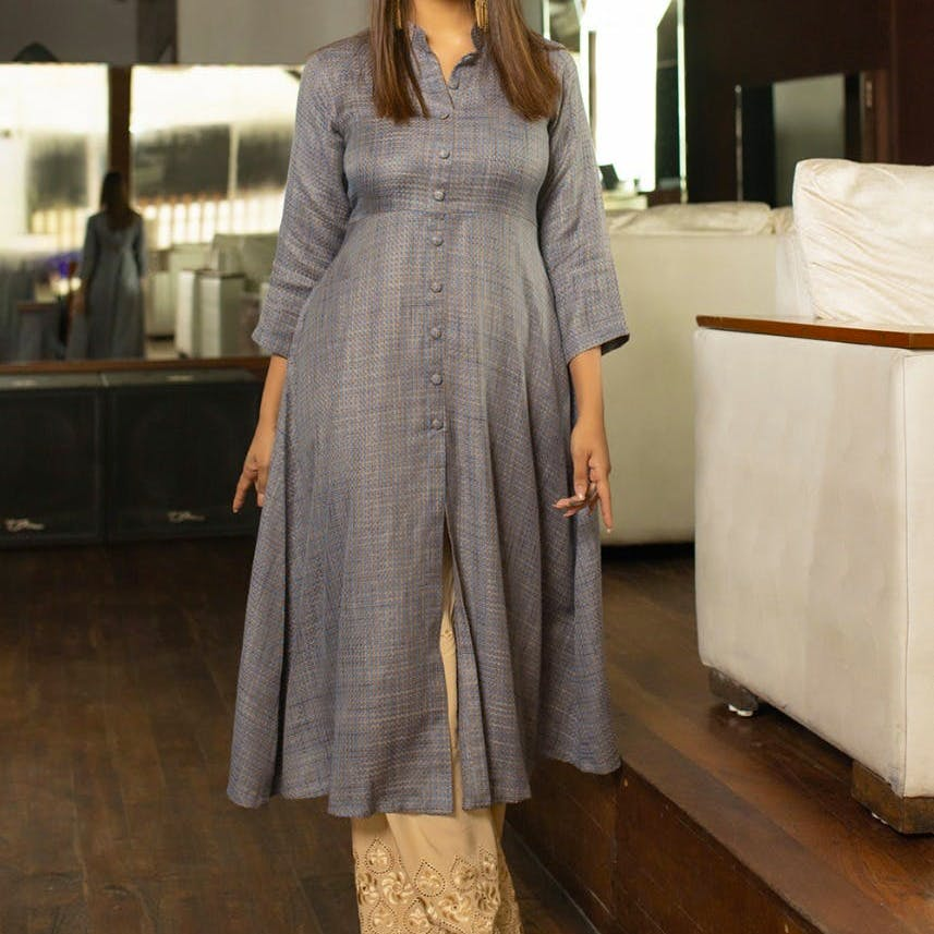 Women A-Line Button Down Kurta With Contrast Palazzos