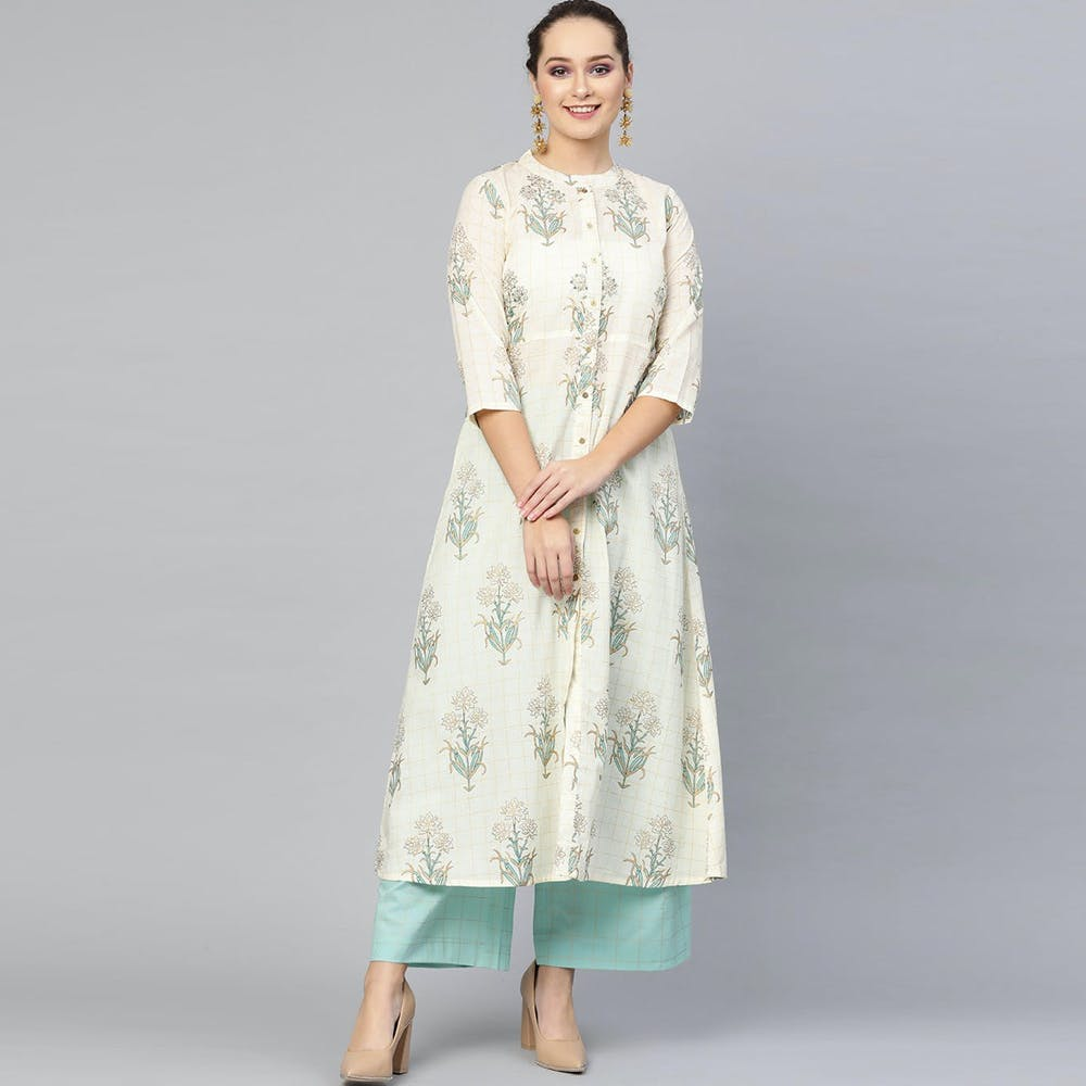 Women Floral Printed A-Line Kurta With Blue Palazzo Set