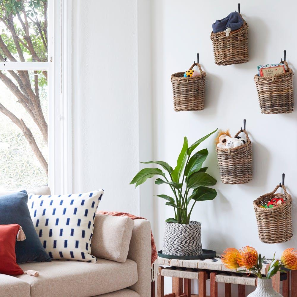 Property,Furniture,Couch,White,Blue,Plant,Flowerpot,Azure,Comfort,Orange