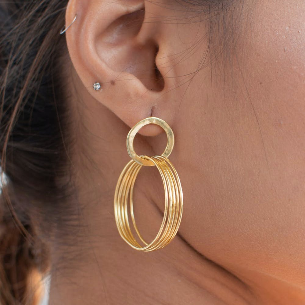 Multi Layered Golden Hoops